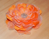 Orange flower, orange fascinator, organza head piece, orange barrette, flower head