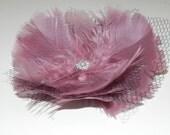 Pale pink feather flower, pink head piece, pink fascinator, pink hair clip