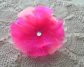 Fuchsia feather flower, fascinator, hair clip, hot pink feather flower