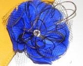 Indigo blue feather flower, head piece