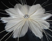 Ivory bridal flower, feather fascinator, head piece, bridal hair clip