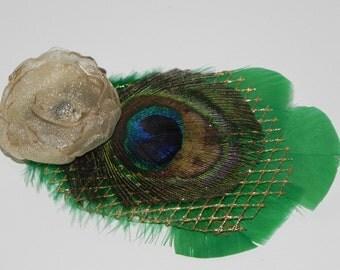 Peacock fascinator, peacock clip, feather fascinator, green peacock head piece