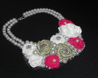 Fabric flower bib necklace, beaded necklace, rosette bib necklace
