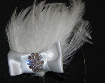 White feather pad, headband, head piece, bridal feather fascinator, bridal headpiece, white feather headband
