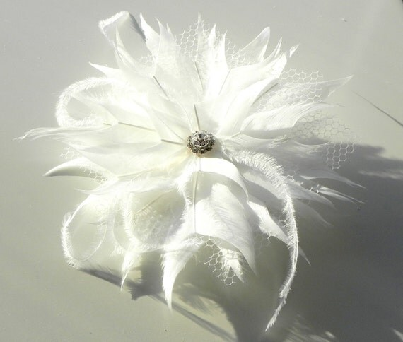 White feather flower, bridal fascinator, white headpiece