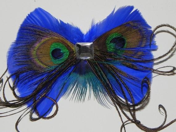 Feather bow, Blue bow tie hair clip, peacock bow tie, indigo bow tie head piece