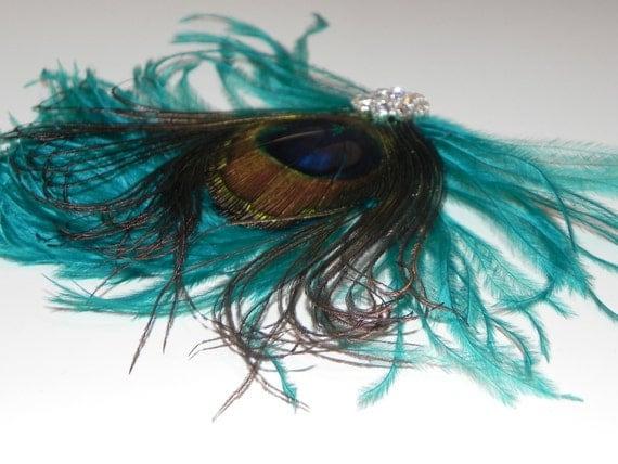 Peacock teal fascinator, hair clip, head piece, peacock