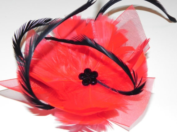 Red fascinator, red feather flower, head piece, hair clip