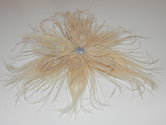 Ivory peacock fascinator, ivory hair clip, feather flower, bridal head piece