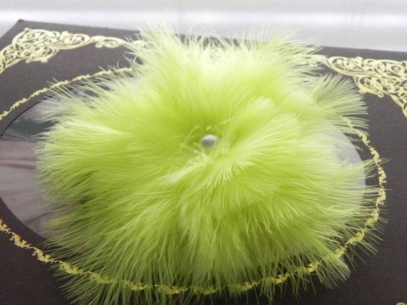 Lime green fascinator, head piece, feather flower, Neon green