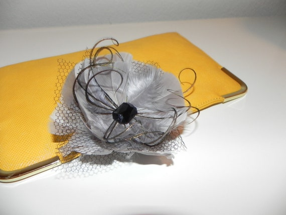 Gray fascinator, feather flower, hair clip for bachelorette