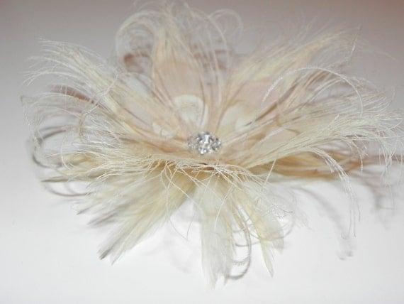 Ivory bridal fascinator, head piece, feather flower, bridal hair clip