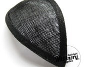 Black Retro 1940s style Teardrop Millinery Sinamay Hat Base for Fascinators and Cocktail Hats