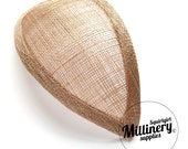 Latte Retro 1940s style Teardrop Millinery Sinamay Hat Base for Fascinators and Cocktail Hats