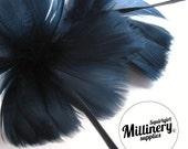 Navy Blue Goose Feather Flower Hat Trim for Fascinators, Wedding Veils and Hat Making