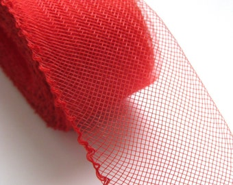3 yards Red 2 inch wide Crin Crinoline Horsehair Braid for Hats and Fascinators