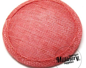 Coral Round Millinery Straw Sinamay Hat Base for Fascinators and Cocktail Hats