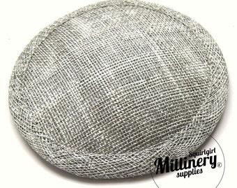 Metallic Silver Round Sinamay Millinery Fascinator Hat Base