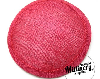 Fuschia Pink Round Millinery Sinamay Hat Base for Fascinators and Cocktail Hats