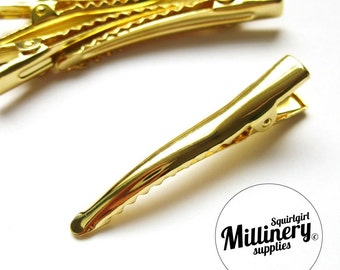 5 Pcs. Gold Plated Metal Alligator Hair Clips for fascinators and millinery