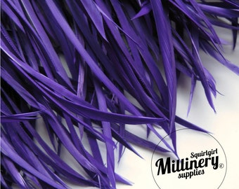 Purple Goose Biot Feather Fringe, 5 Inch Piece (30 or More Feathers) for Millinery and Craft