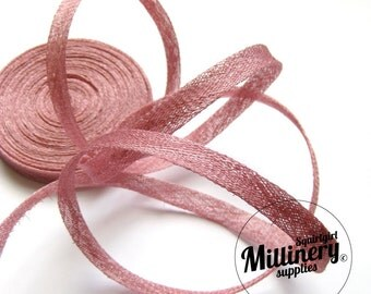 2 yards 1 cm Wide Dusky Pink Sinamay Bias Binding for Millinery Hats & Fascinators