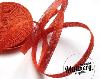 2 yards 1cm Wide Orange Millinery Sinamay Bias Binding fascinator & hat trim