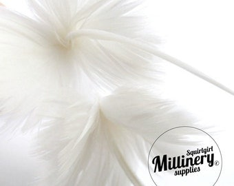 White Goose Feather Flower Hat Trim for Fascinators, Wedding Veils and Hat Making