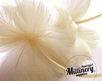 Ivory Goose Feather Flower Hat Trim for Fascinators, Wedding Veils and Hat Making