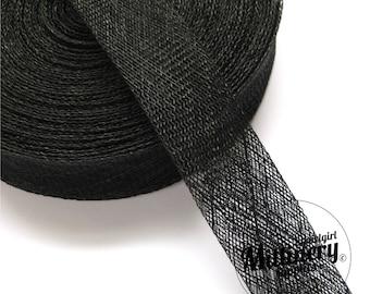 2 Yards 3cm Wide Black Sinamay Bias Binding for Millinery Hats & Fascinators