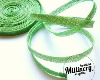 1cm Sinamay Bias Binding Tape Strip (1.6m/1.7yards) for Millinery & Hat Making -  Apple Green
