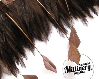 Chocolate Brown Hackle & Goose Diamond Tip Feather Fringe (Around 65 feathers)