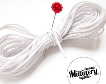 White Round 1mm Hat Elastic for Millinery & Fascinators (5 yards)