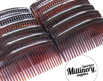 "12 Large 3 3/4"" Tortoise Brown Plastic Hair Combs for Fascinators, Hair Accessories & Millinery"