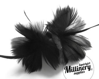 Black Goose Feather Flower Hat Trim for Fascinators, Wedding Veils and Hat Making