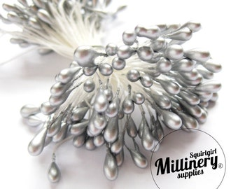 Bunch of 100 Double Sided Flower Stamens for Flower Making - Silver