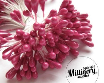 Bunch of 100 Double Sided Flower Stamens for Flower Making - Cerise Pink