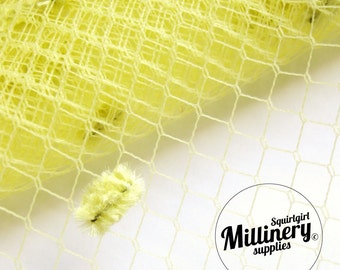 Vintage Yellow Dotted English 1960's Birdcage Veil Millinery Fabric, 1 yard