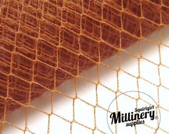 Vintage Rust Colour English 1960's / 1970's Birdcage Veil Millinery Fabric, 1 yard
