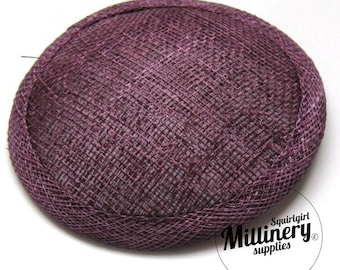 Plum Purple Round Millinery Sinamay Hat Base for Fascinators and Cocktail Hats