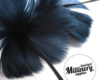 Navy Blue Goose Feather Flower Hat Trim for Fascinators, Wedding Veils and Hat Making