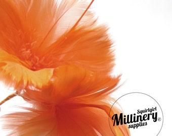 Orange Goose Feather Flower Hat Trim for Fascinators, Wedding Veils and Hat Making