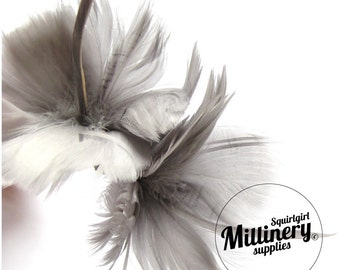 Grey Goose Feather Flower Hat Trim for Fascinators, Wedding Veils and Hat Making