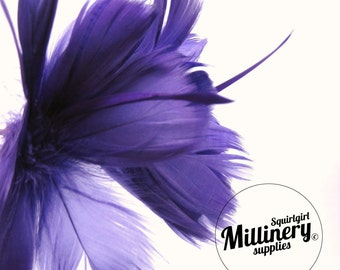 Purple Goose Feather Flower Hat Trim for Fascinators, Wedding Veils and Hat Making