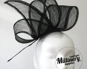 Black Wide Sinamay Ribbon Sash for Millinery, Hat Trimming & Fascinators