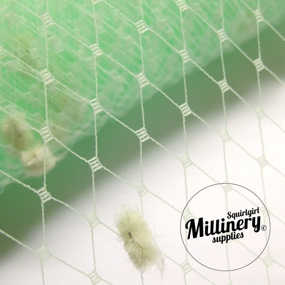 """Mint Green Dotted Russian / French Net Millinery Veiling 9-Inch Width x34"""" Piece"""
