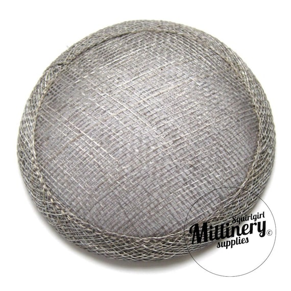 Pewter Grey Round Millinery Sinamay Hat Base for Fascinators and Cocktail Hats