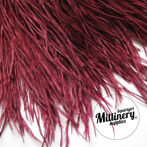 Burgundy Ostrich Feather Fringe (9 Inches) Hat Trim for Millinery & Crafts