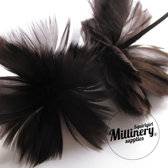 Chocolate Brown Goose Feather Flower Hat Trim for Fascinators, Wedding Veils and Hat Making
