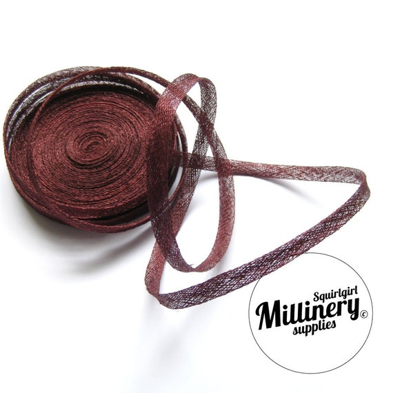 Burgundy Sinamay Bias Binding for Millinery Hats & Fascinators (2 yards)
